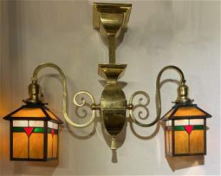 Arts & Crafts Double Armed Stained Glass Brass Light