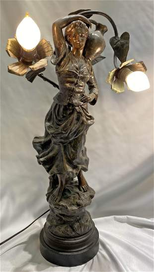 Victorian Newel Post Lamp Figural Lady France