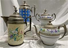 Collection Victorian Enamel & Pewter Teapots