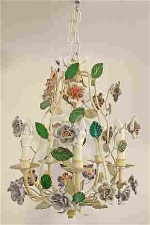 Vintage French Tole Chandelier