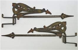 Pair Early Art Deco Curtain Tie Back Swing Rods