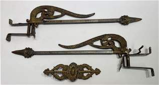 Ornate Victorian metal Curtain Tie back swing rods