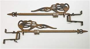 Art Deco Pair Curtain Tie Back Swing Rods