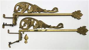 Pair Victorian Ornate Curtain Tie Back Swing Rods
