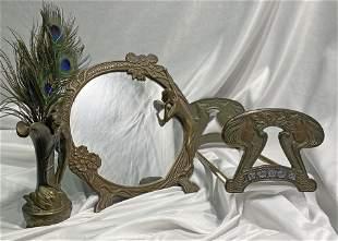 3pc Art Nouveau Collection Leda Swan etc