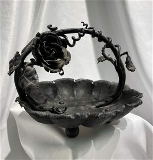 Art Nouveau Rose Tendril Cast Metal Scalloped Basket