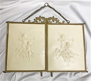 Victorian Celluloid tri fold beveledMirror w Cupids