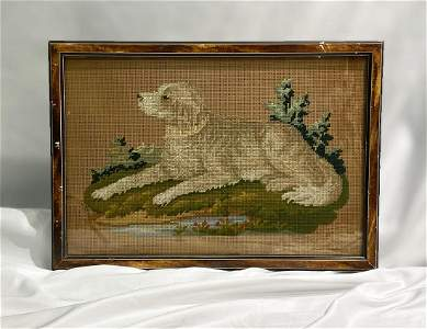 19thC Victorian Paper Punch Sampler of Dog