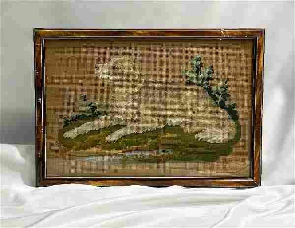 19thC Victorian Paper Punch Sampler of Dog