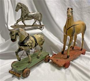 3 19th c Children's Horse Pull Toys wood & metal