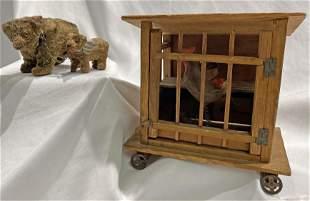 Antique Miniature German Stuffed Bears & Bird in Cage