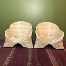 IMO Betty Cobunpue Pair Pencil Reed low chairs