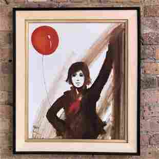 Mid Century Oil on Canvas Red Balloon Sardi