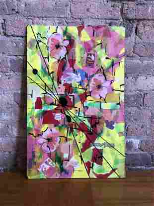 Mid Century Mixed Media Pop Art Pink and Yellow