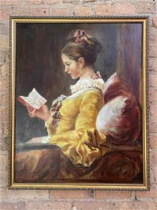 Oil on Canvas Woman Portrait Signed