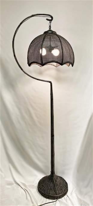 Black Mid Century Wicker Floor Lamp
