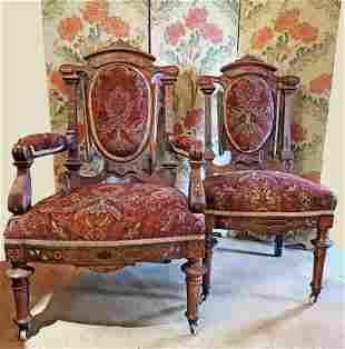 Fantastic Inlaid Eastlake Victorian Pair Chairs his
