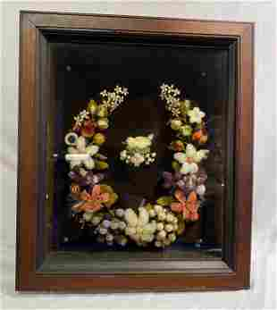 1800's Victorian Floral Mourning Wreath bird in nest
