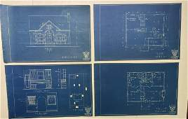 Early 20th C Blue Prints Residential Home Arts & Crafts