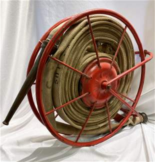 Early 20th C Fire Hose on Reel