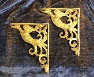 19th C Cast Iron Wall Brackets figural Phoenix