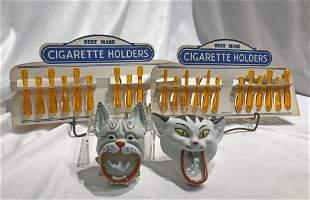 Art Deco German Porcelian Cat Ashtrays Cigarette