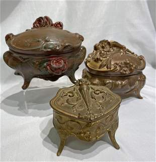 3 Victorian Ornate Casket Jewelry Boxes
