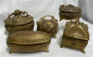 Collection Victorian Cast Metal Casket Jewelry Boxes