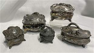 Collection Victorian Siver Metal Casket Jewelry Boxes