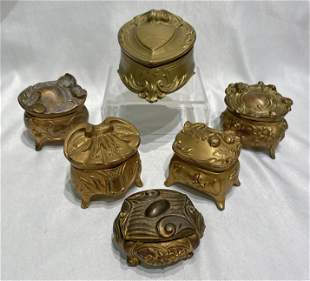 Collection Victorian 6 Casket Ring Jewelry Boxes