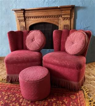 Pair Pink Mid Century Modern Chairs w pillows & ottoman
