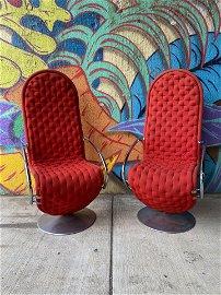 Pair Verner Panton 123 System Lounge Chairs