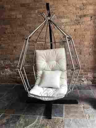 Ib Arberg 1970s Parrot Cage Swing Chair vinyl cushion