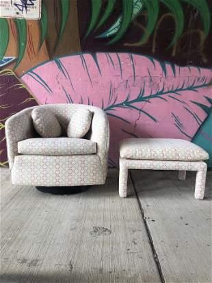 IMO Milo Baughman Swivel Chair w Ottoman