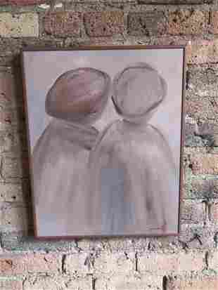 Post Modern Abstract Couple Oil on Board C Simpkins