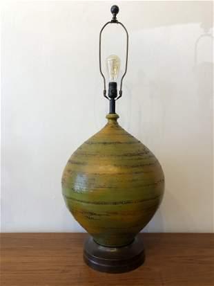 Mid Century Avocado Green Oversized Pottery Lamp