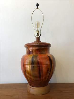 Mid Century Lava Oversized Pottery Lamp