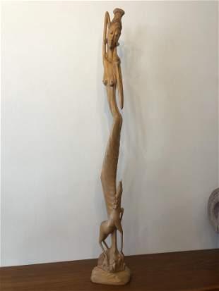 Sheva Mid Century Wood Carving Statue