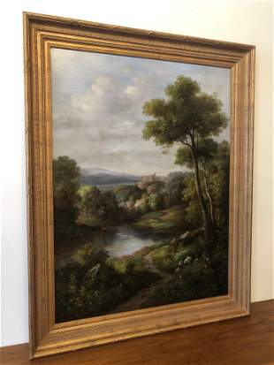 Large Oil on Canvas Landscape signed Humphrey
