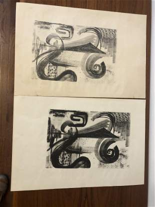 Original Mid Century Charcoal Drawing Signed Art