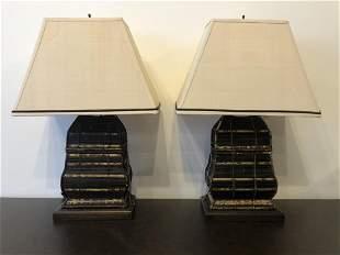 Pair Rattan Post Modern Lamps
