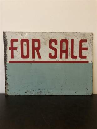 """Art Deco Advertising Sign """"For Sale"""""""