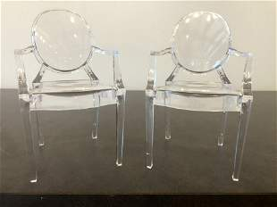 Pair Miniature Ghost Chairs MCM