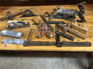 Collection Antique Wood Planes Measuring Devices