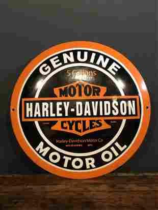 Enamel Harley Davidson Advertising Button Sign