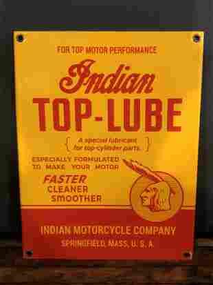 Enamel Indian Motorcycle Advertising Sign
