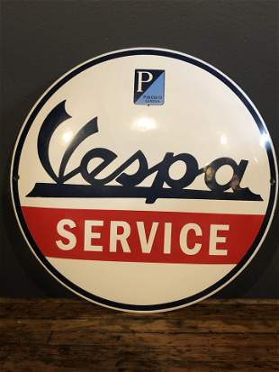 Enamel Vespa Advertising Button Sign
