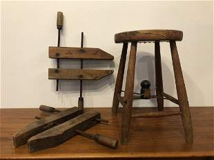 Industrial Workman's Stool W 2 Wood Clamps