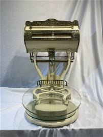 Excellent Antique Brass Enamel Scale Late 19th C