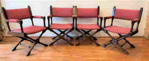 Set 4 Mid Century Campaign Chairs